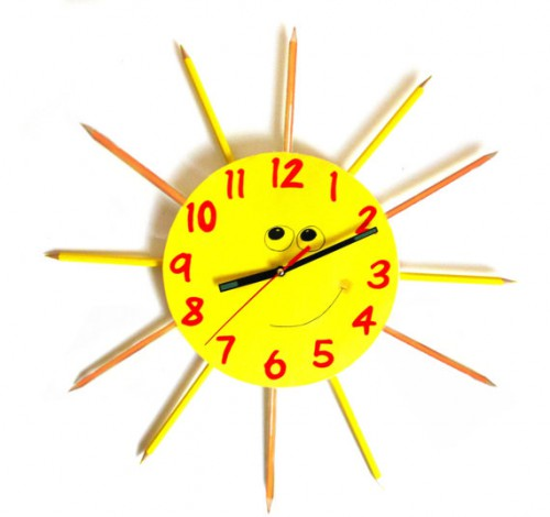 yellow sunshine color pencil clock 500x470 Two Pencil Clocks