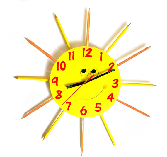 yellow-sunshine-color-pencil-clock
