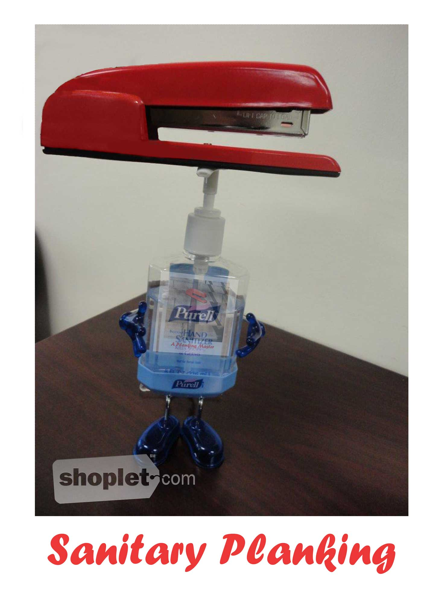Shoplet Planking Stapler Sanitizer Shoplet Planking Stapler Planks on Purell Hand Sanitizer