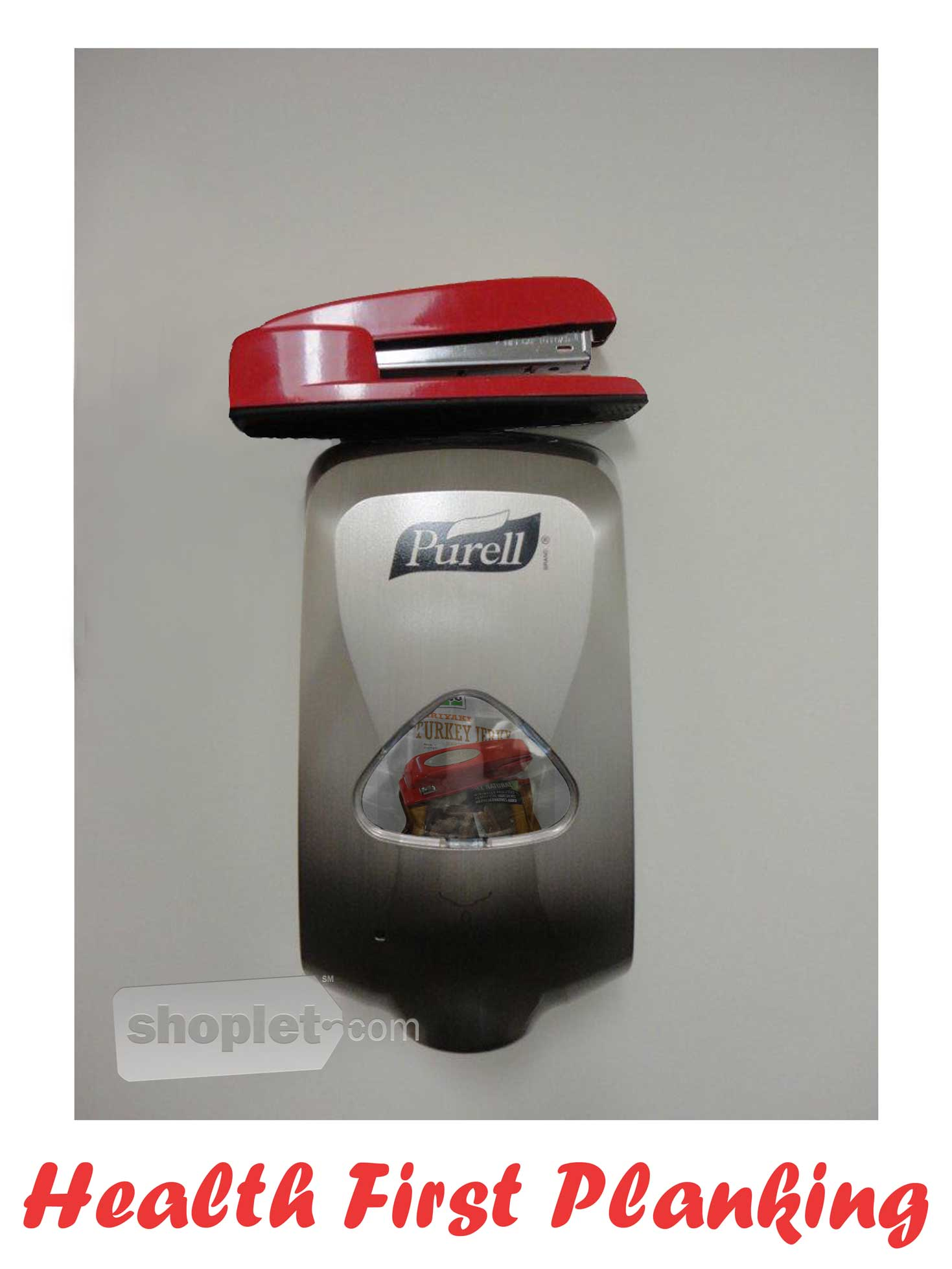 Shoplet Planking Stapler Wall Sanitizer Shoplet Planking Stapler Planks on Purell Wall Hand Sanitizer