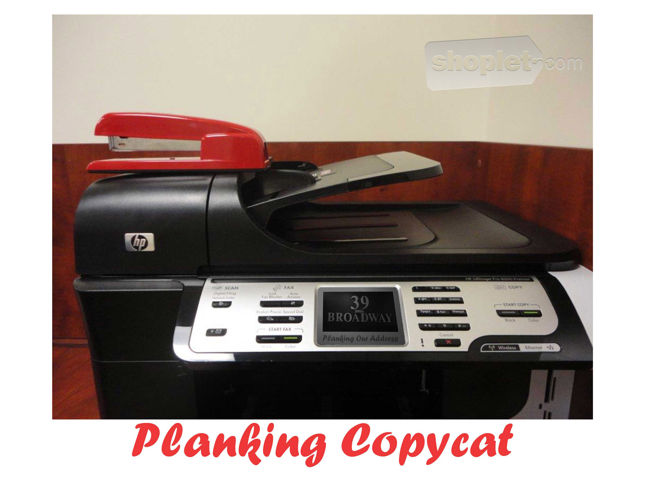Shoplet Planking Stapler Copy Machine Shoplet Planking Stapler Planks on Copy Machine 