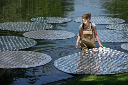 bruce munro water lilies 500x332 Beautiful Water Lilies Made with CDs
