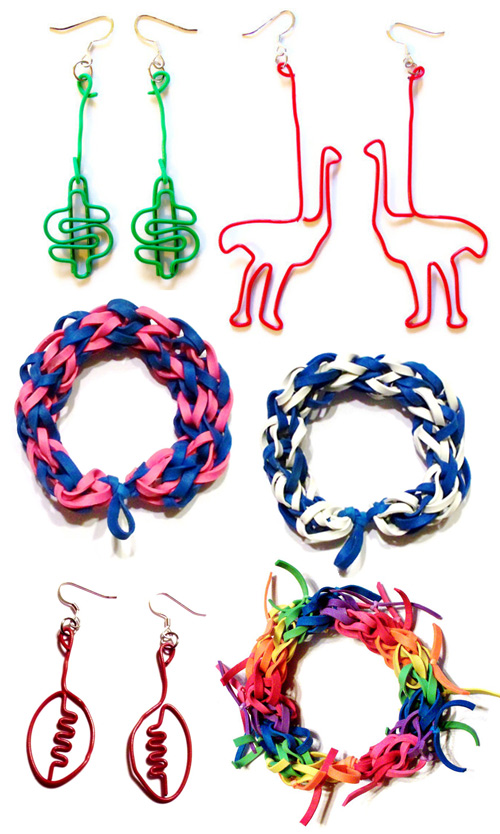 bungle bands and paper clip earrings Bungle Band Bracelets and Paper Clip Earrings