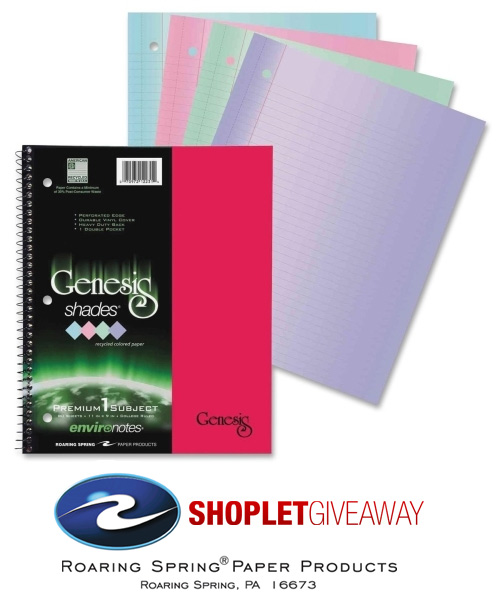shoplet roaring spring environotes giveaway Win a Case of Notebooks from Roaring Spring!