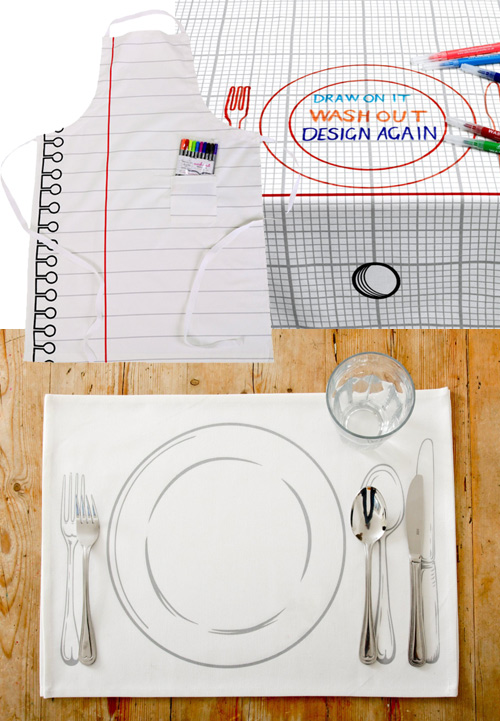 doodle by stitch Draw on Aprons, Placemats, and Tablecloths