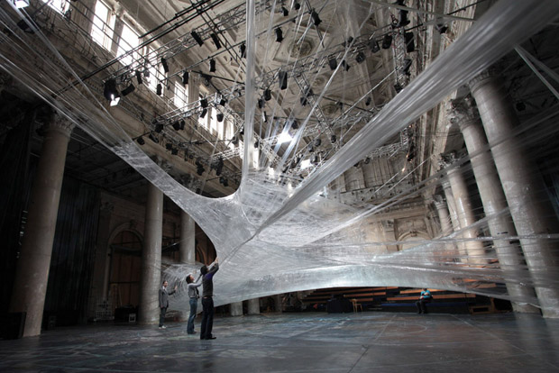 spider web packing tape Giant Spider Web of Packaging Tape