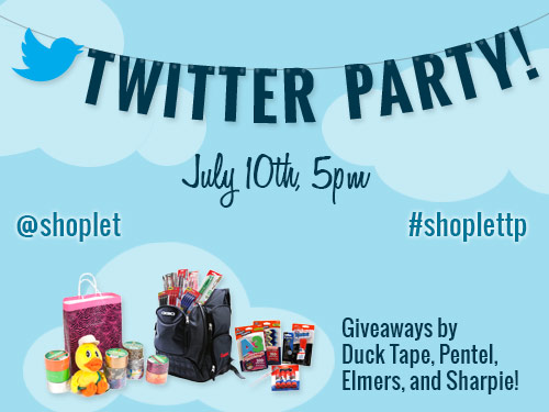 blog twitter party #ShopletTP: First EVER @Shoplet Twitter Party – Wednesday, July 10!