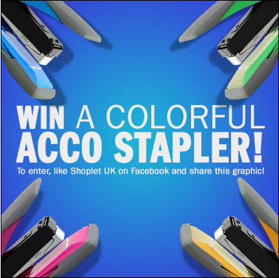 10.24 1 Shoplet UK: Win a Colourful Acco Stapler!
