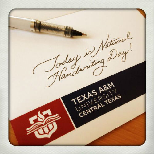 Texas A+M Twitter Roll: Happy #NationalHandwritingDay!