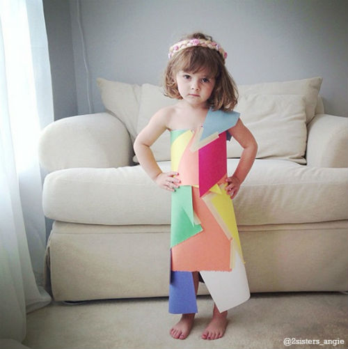 o 1643876 570 61 Mommy Daughter Duo Make Dresses Out of Construction Paper + Tape