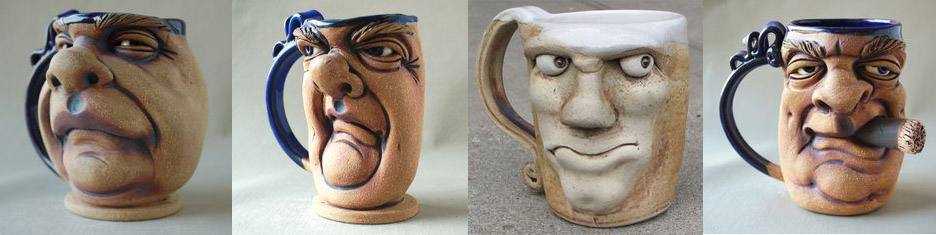 Faces on Ceramic Mugs