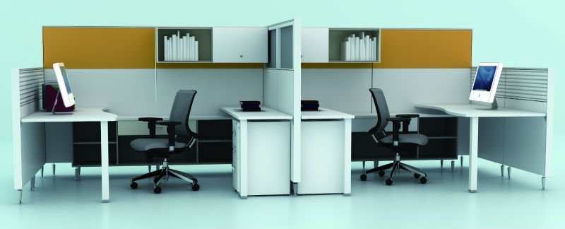Cubicle with Overhead Storage