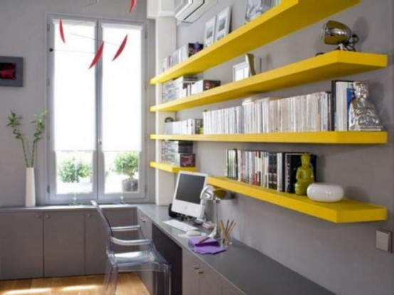 Yellow Office Shelves
