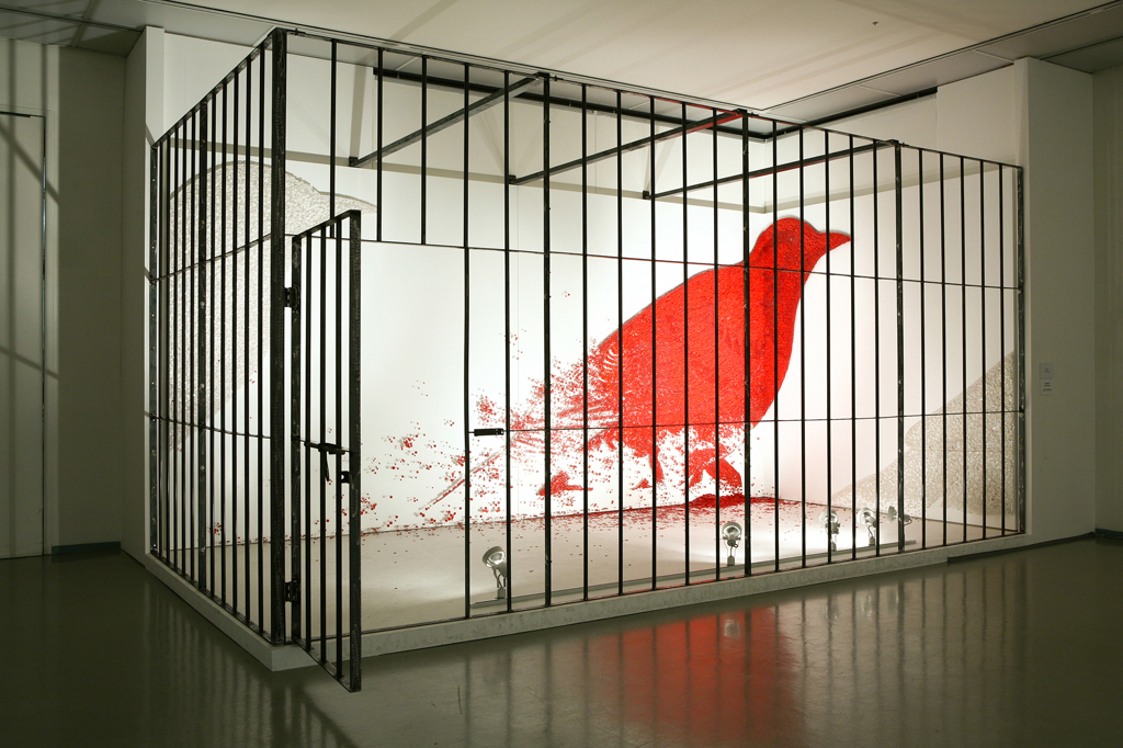 Red Thumbtack Bird in Cage