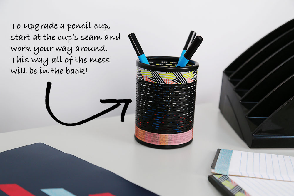 DIY Office Supply Makeover With Washi Tape