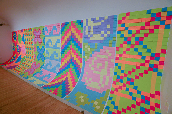 color post it wall
