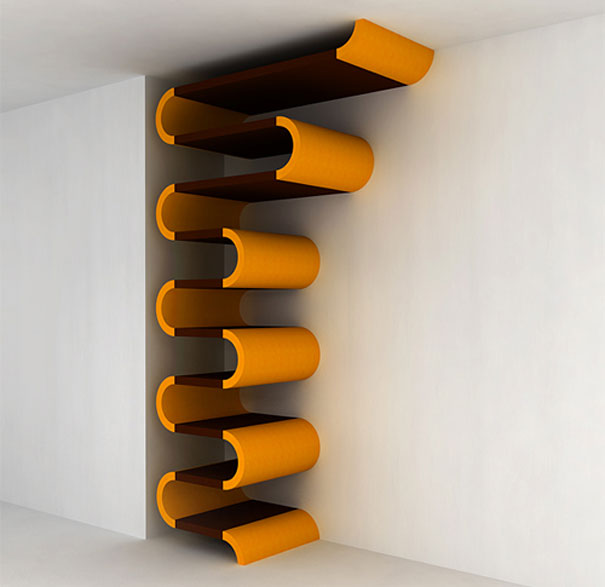 Orange Curved Bookcase