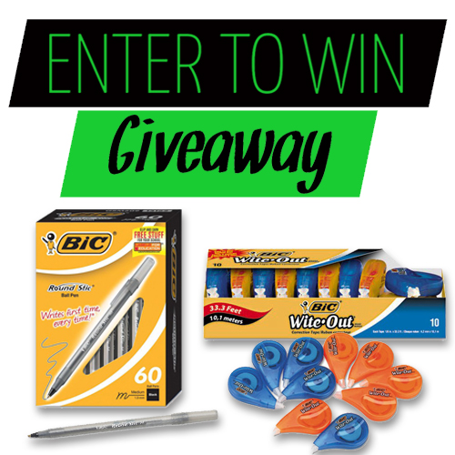 Win a Box of Bic Round Stic Ballpoint Pens and Correction Tape