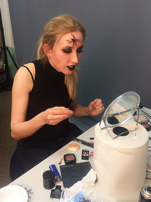 Spider Queen comes to life with the help of eyelash glue!