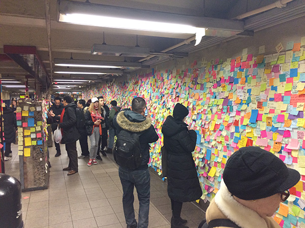 NYC Subway Post-it Wall 2