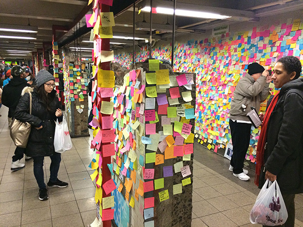 NYC Subway Post-it Wall