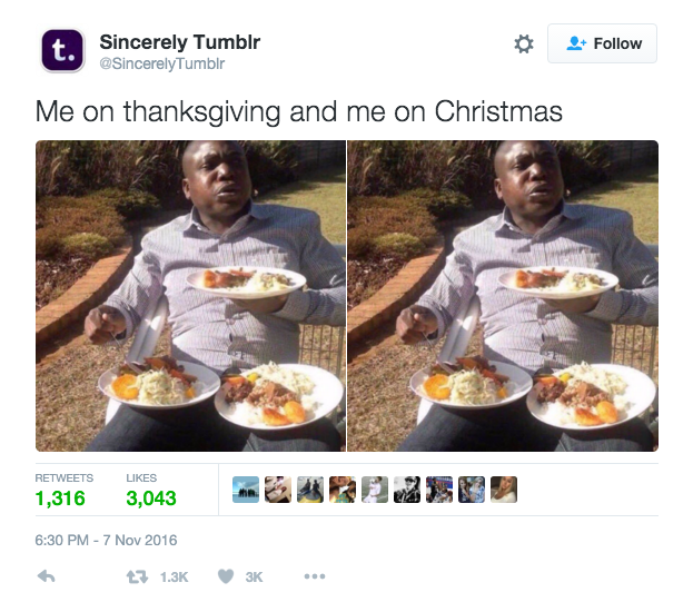 Sincerely Tumblr - Thanksgiving VS Christmas