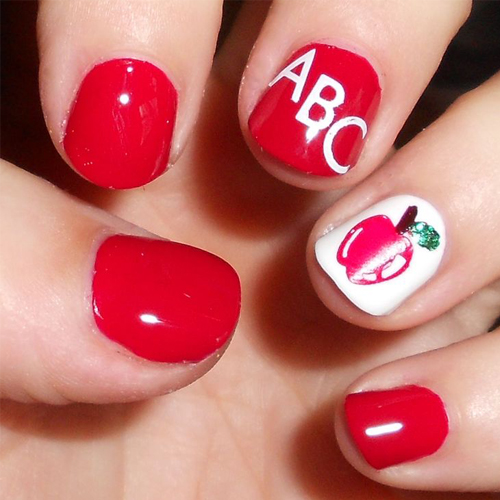Apple red nails